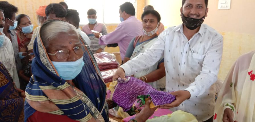 Distribution of blankets, sarees and other necessary food items